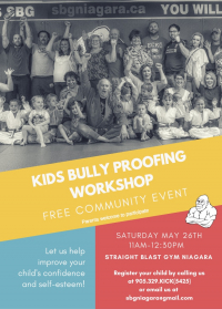 FREE Kids Bully Proofing Workshop At SBG Niagara