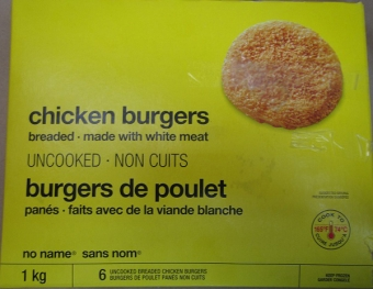 RECALL: No Name Brand Chicken Burgers - Salmonella