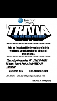 Get Your Tickets - Beer Trivia!