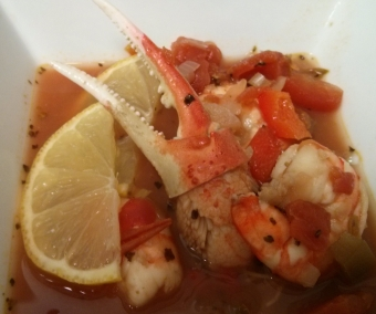 Sicilian Seafood Stew with Lot 74 Red
