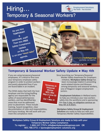Temporary & Seasonal Worker Safety Update -