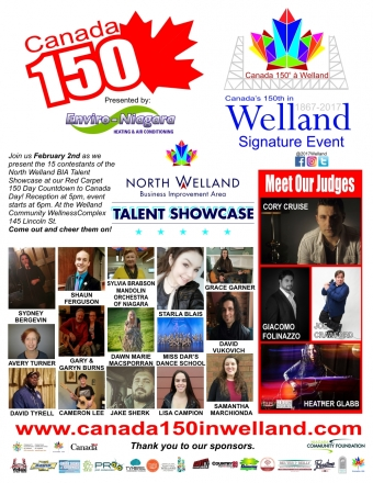Canada 150 in Welland Announces Top 15 Performers