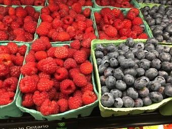Just in - Fresh local raspberries and blueberries from Hughes Orchard!