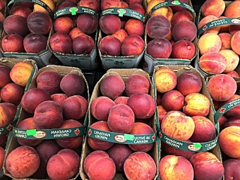 Fresh Ontario peaches and blueberries in abundance at Glenburnie Grocery!