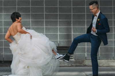 Smoking jacket & sneakers  – cool style for a very personalized wedding at the TIFF Bell Lightbox