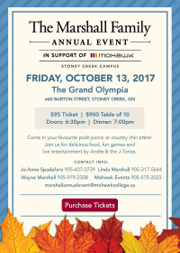 Join us for the 2017 Marshall Family Annual Event in support of Mohawk College