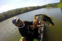 The Rod Glove's Justin Brewer fall fishing from his yak