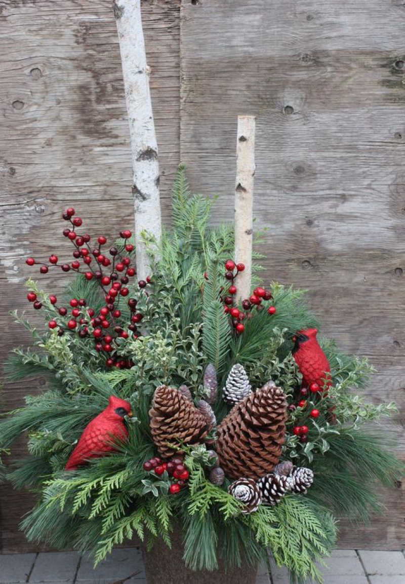 Christmas, urn, winter, decor