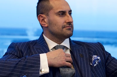 Pinstripe never looked more powerful than on entrepreneur and philanthropist Julian Ricci