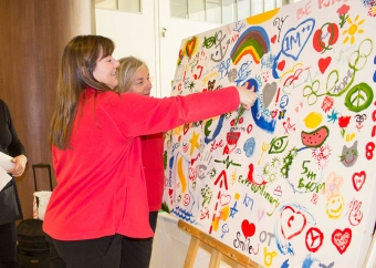 Hundreds contribute to fifth birthday painting