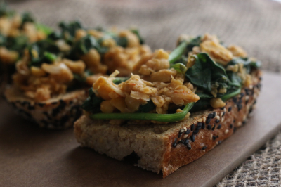 The lunch you need to make yourself: Smashed Chickpea, Harissa and Spinach Toasts