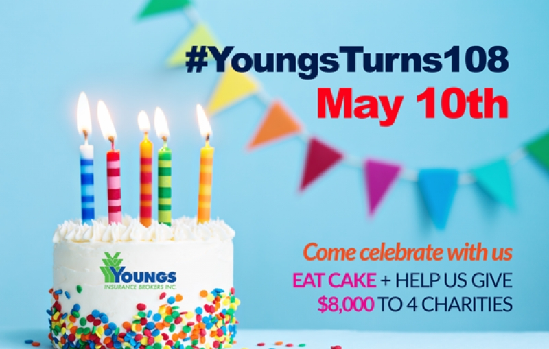 Youngs Insurance Brokers' 108th Birthday $8,000 Charitable Giveaway!