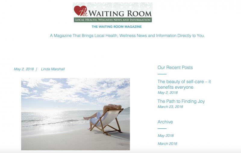 The Beauty of Self-Care - it Benefits Everyone, published in The Waiting Room Online