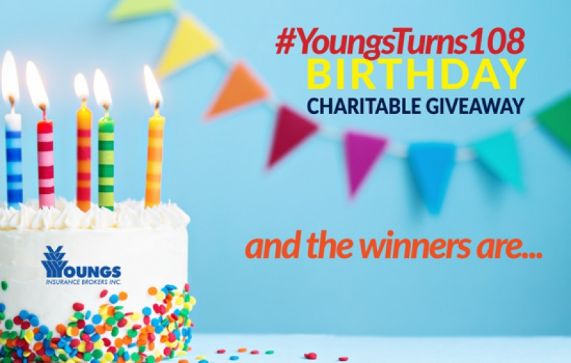 Youngs' 108th Birthday Charitable Giveaway  |  WINNERS