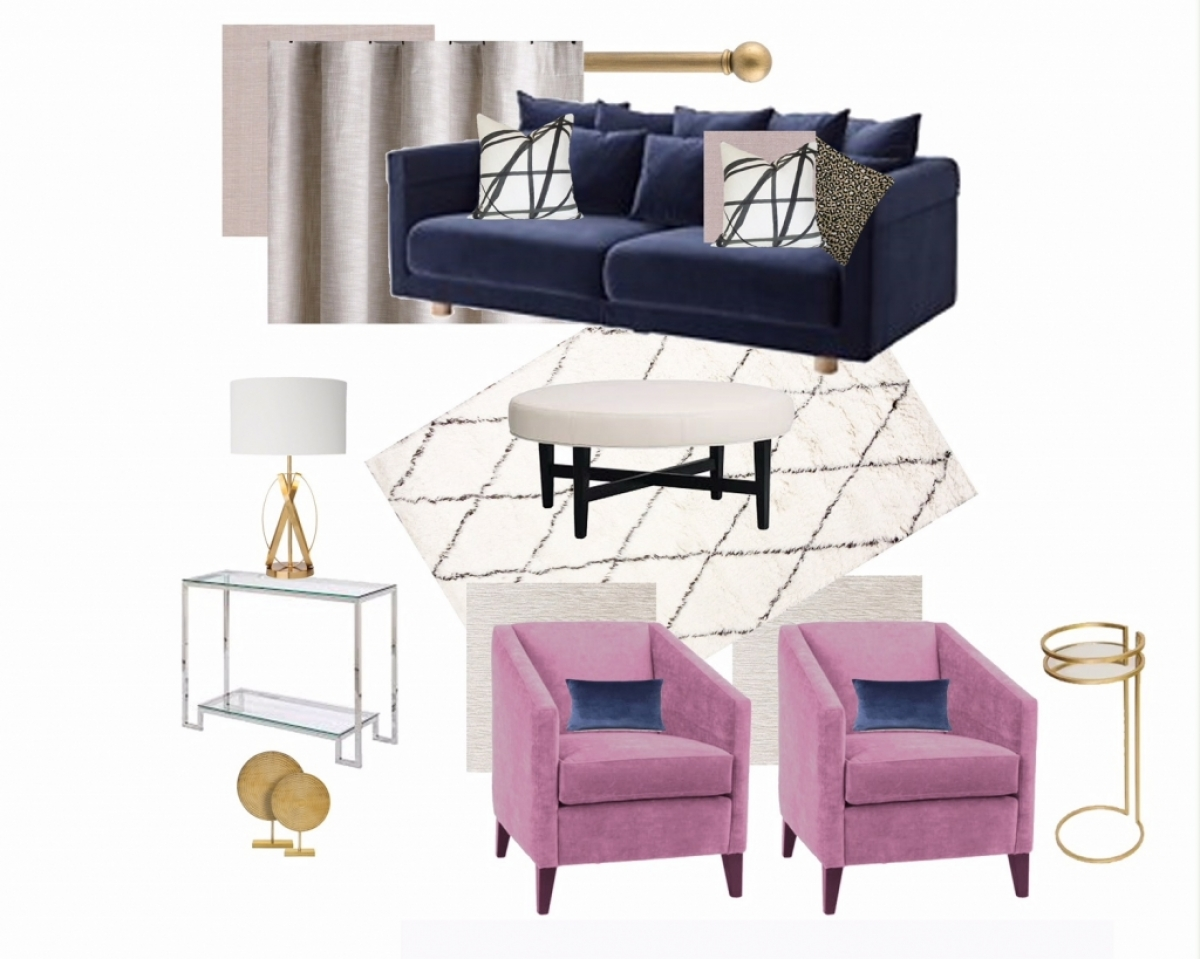 In Progress: Blush & Navy Living Room