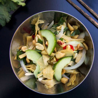Friday Rituals + Cameron Stauch's Cucumber and Shredded Tofu Skin Salad