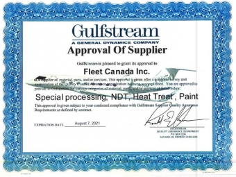 Fleet obtains Gulfstream special processing approvals