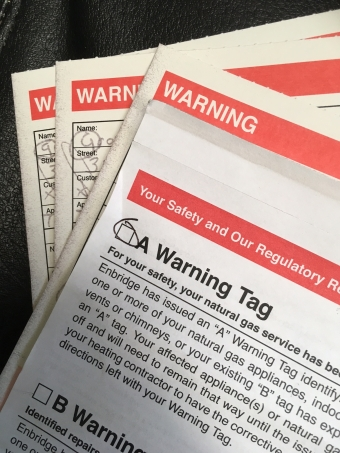 What Do I do about a Gas Warning Tag?