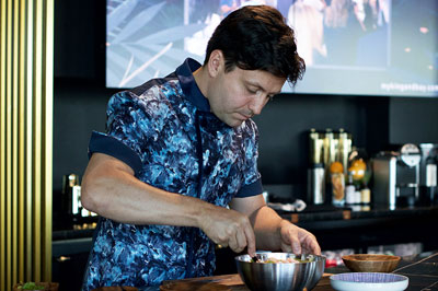 Catering Chef Felipe Recaman expresses his personal style with a custom chef jacket