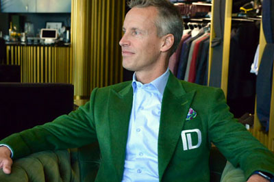 Financial Services Executive Chad Alderson exudes confidence in a unique custom-tailored wardrobe