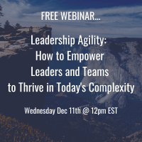 Dec 11th - WEBINAR - Leadership Agility:  How to Empower Leaders and Teams to Thrive in Today's Complexity