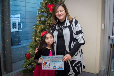 Niagara Falls girl artist for Niagara Health's 2019 Holiday Card