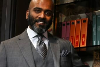 Lawyer Kubes Navaratnam presents a conservative, timeless elegance that inspires confidence