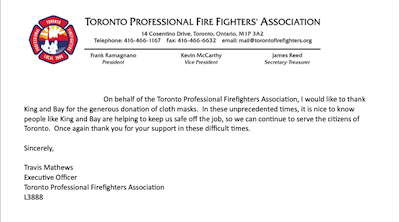 King & Bay recognized by Toronto Professional Firefighters Association