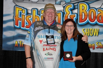 First Canadian Female Angler, Yvonne Brown, Rod Glove Promoter receives Rick Amsbury Award, Canadian Fishing Hall of Fame