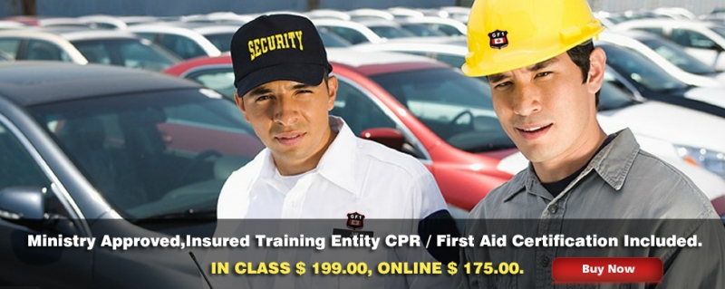 We Provide Ministry Approved Security Guard Training In