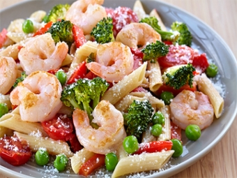 Shrimp and Pasta Primavera with Unoaked Chardonnay