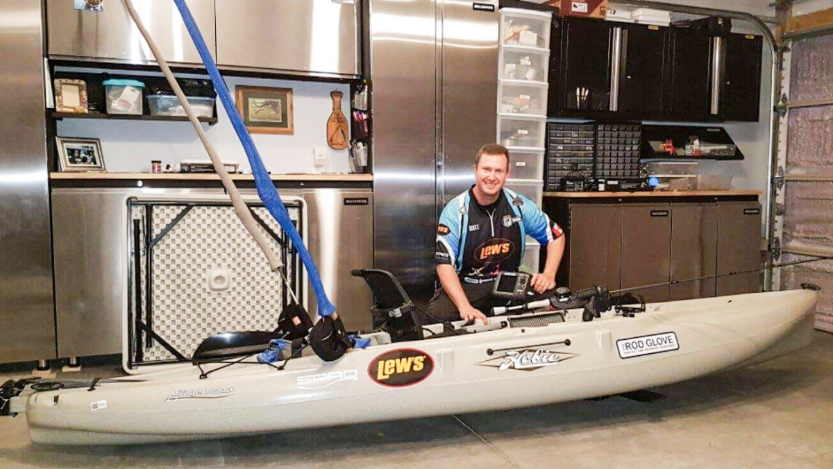 Waiting in a Hobie Kayak, X Zone Pro Staff Scott Boyer's first experience kayak fishing