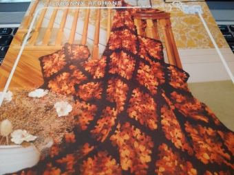 Beautiful Fall-coloured Afghan Vintage Pattern Leaflet
