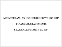 Financial Mainstream: An Unsheltered Workshop - 2014