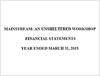 Financial Mainstream: An Unsheltered Workshop - 2015